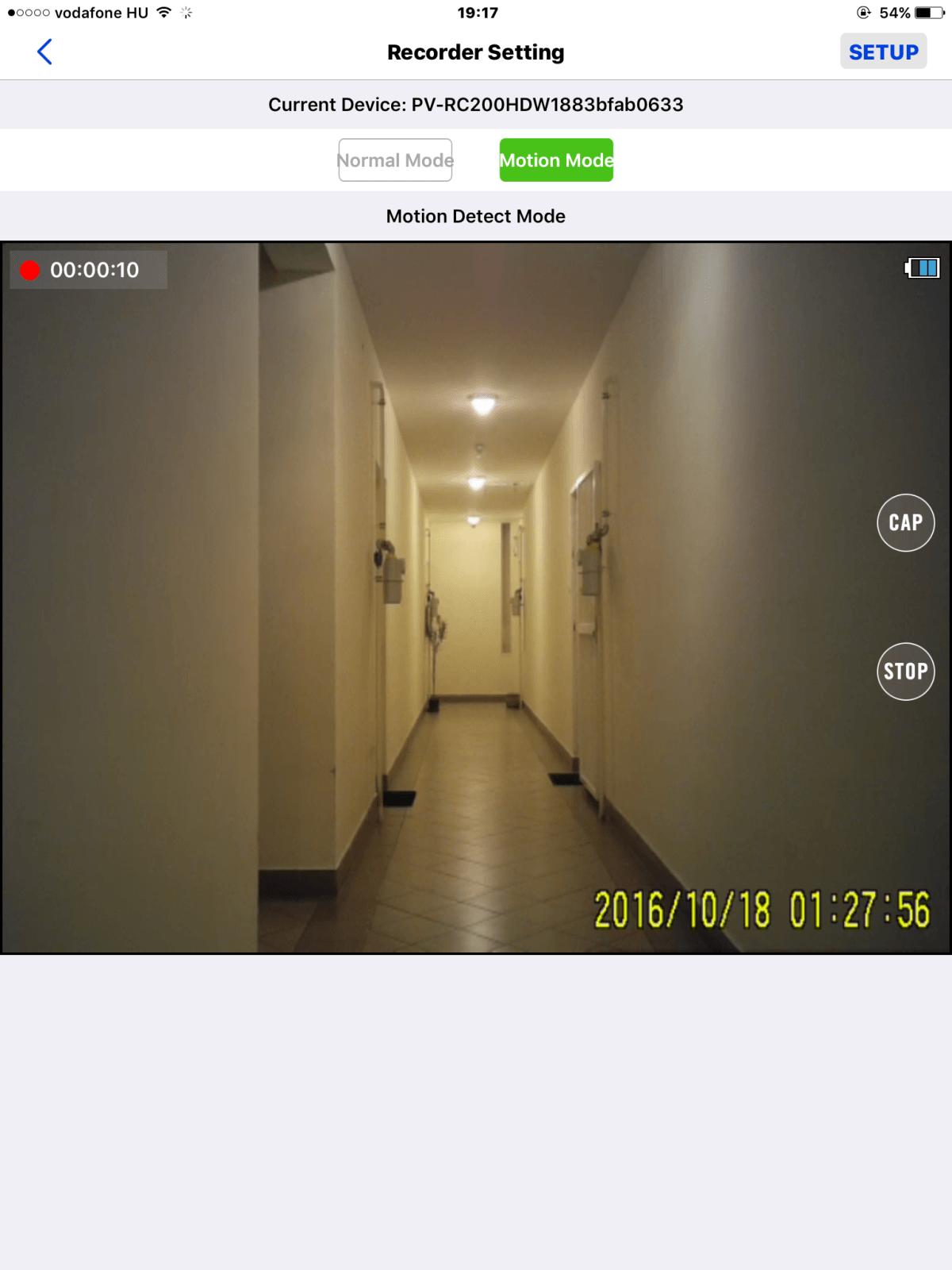 mini kamera felvétele